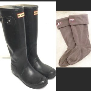 HUNTER Welly Original Boot Black AND Liners 7